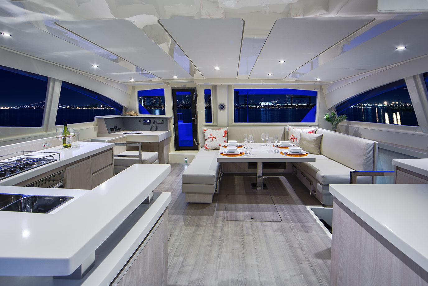 leopard 44 catamaran interior photography
